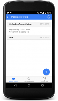 Hospital Link: SWHP: Patient Referrals example screenshot (Android)
